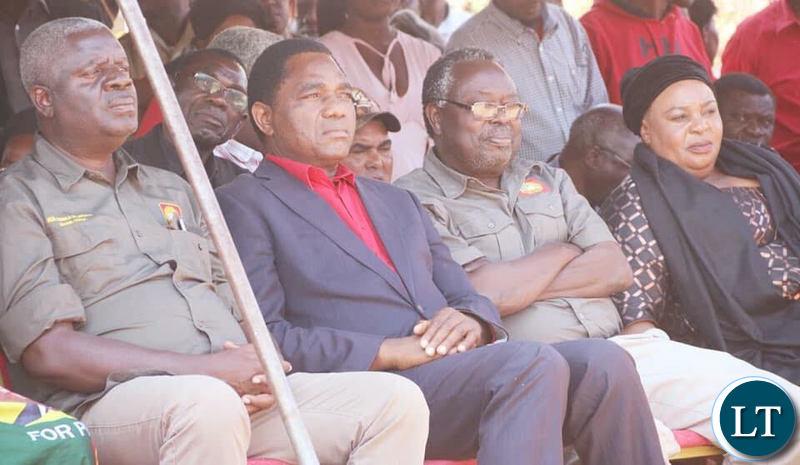 HH and his team attending the burial of late Mangango MP Naluwa Mweene