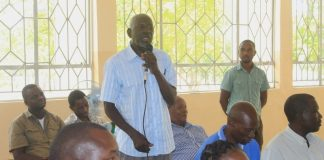 Alliance For Democratic and Development Western province chairperson Mulele Mumbisho making his submission during a public hearing on Public Order Act Amendment under the Ministry of Justice in Mongu, Western Province .