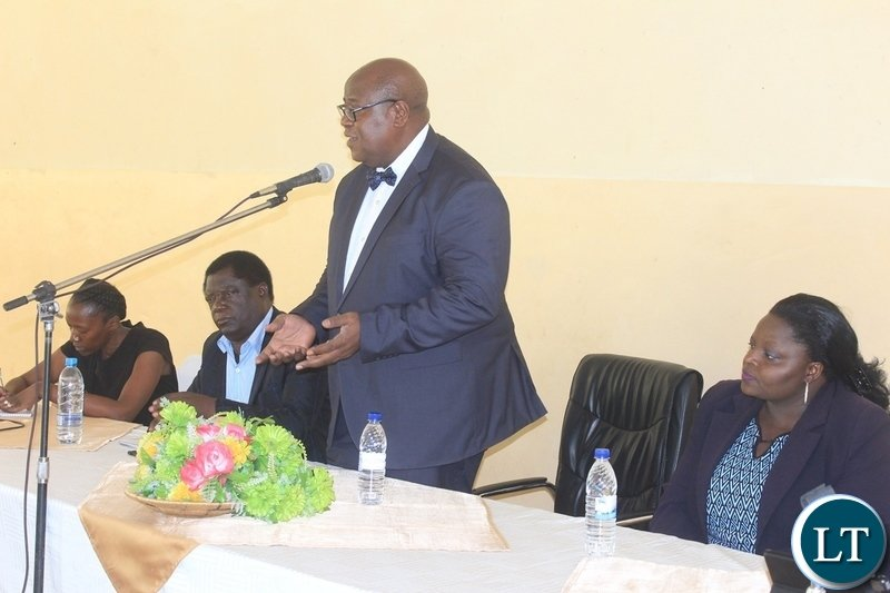 Western Province Permanent Secretary Sibanze Simuchoba delivers his key note speech during a public hearing on Public Order Act Amendment under the Ministry of Justice in Mongu, Western Province.