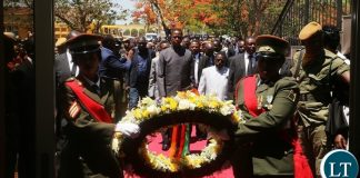 President Edgar Lungu laying wreath at Embassy part during the Memorial of the Late President Sata