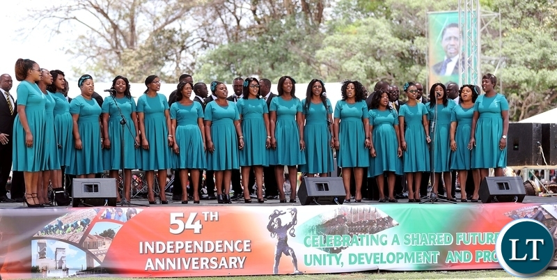 The Seventh Day Adventist Choir perfoms on the occasion to mark Zambia's 54th Independence anniversary at State House on Wednesday, 24th October, 2018. Picture by Eddie Mwanaleza/State House
