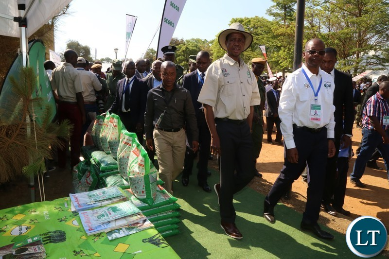 President Edgar Lungu tours the Exhibition stands before the official opening of the Central Province Investment Forum and Expo in Kapiri District