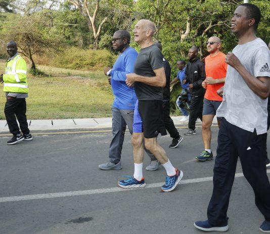 LEFT:President Edgar Chagwa Lungu,12th Israeli Prime Minister Ehud Olmert and Health Minister Dr. Chitalu Chilufya during the morning exercise in Lusaka on Saturday,October 20,2018.. PICTURE BY SALIM HENRY/STATE HOUSE ©2018
