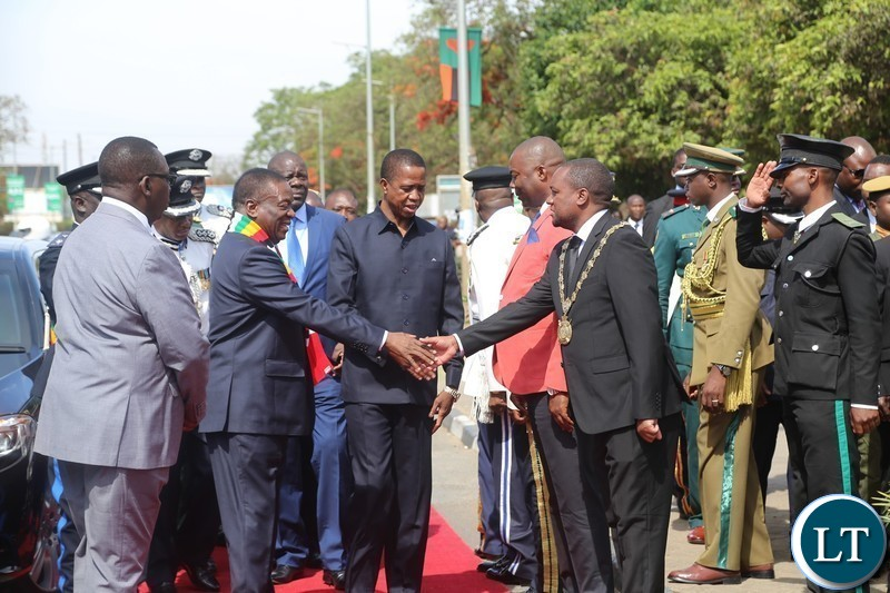 President of Zimbabwe,Emmerson Mnangagwa is welcomed by Lusaka Mayor.Miles Sampa at freedom statue for wreath laying ceremony in Lusaka.