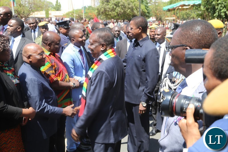 President Edgar Lungu and his counterpart,President of Zimbabwe,Emmerson Mnangagwa at freedom statue for wreath laying ceremony in Lusaka.
