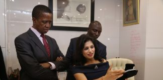 President Edgar Edgar Lungu admires one of the jewel during the tour of Jewel Africa in lusaka