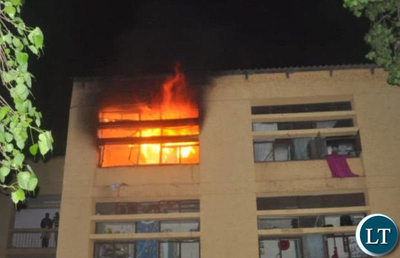 A burning hostel at October block which houses female UNZA students