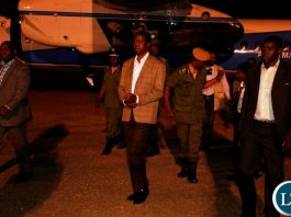 President Edgar Lungu arrives from Western Province at City Airport yesterday 18-11-2018. Picture by ROYD SIBAJENE/ZANIS