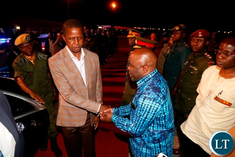 President Edgar Lungu being welcomed by Minister of Home Affairs Stephen Kapyongo shortly after his arrival at City Airport yesterday 18-11-2018. Picture by ROYD SIBAJENE/ZANIS