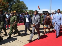 President Edgar Lungu with Minister of Finance Margrate Mwanakatwe on his arrival at Harry Mwanga Nkumbula International Airport in Livingston for IDA Conference in Livingston