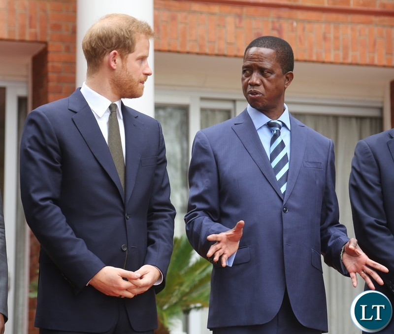 President Edgar Lungu confers Prince Harry the Duke of Sussex shortly after the official talks at State House