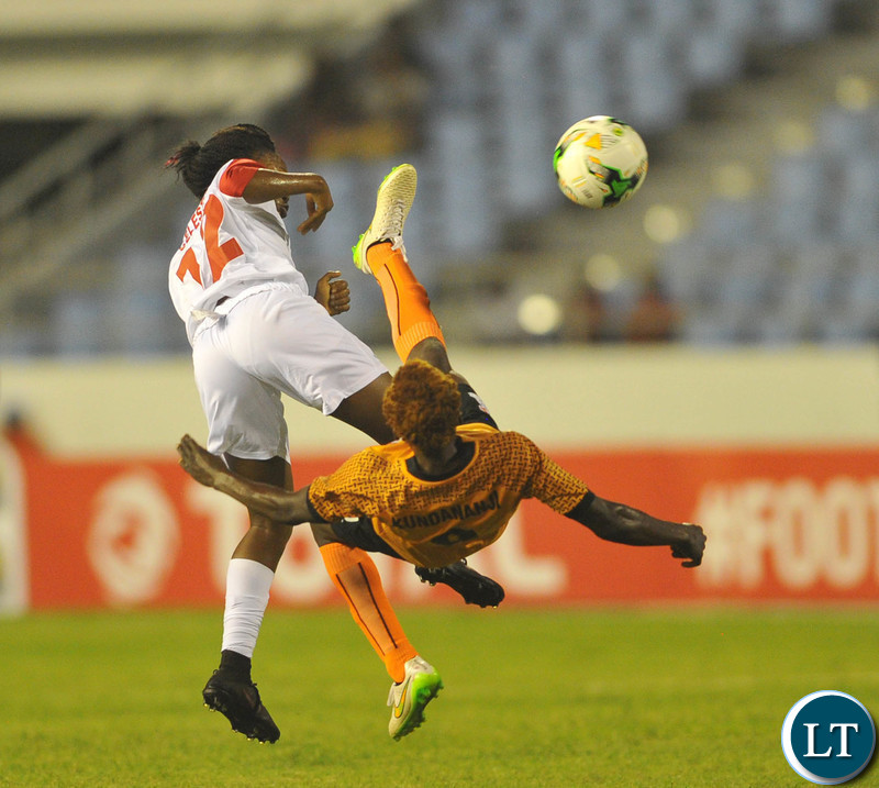 Rachel Kundananji of Zambia challenges Celestina Manga Besecu of Equatorial Guinea  during the 2018 TOTAL African Womens Cup of Nations match between Zambia and Equatorial Guinea the 18 November 2018 at Cape Coast Stadium, Ghana   / Pic Sydney Mahlangu/BackpagePix
