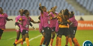 Ireen Lungu of Zambia celebrates goal with teammates during the 2018 TOTAL African Womens Cup of Nations match between Zambia and Equatorial Guinea the 18 November 2018 at Cape Coast Stadium, Ghana / Pic Sydney Mahlangu/BackpagePix