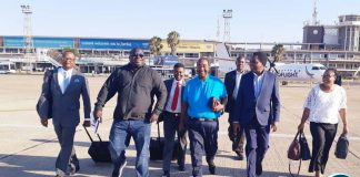 HH accompanied by GBM, Mr Kambwili and the UPND legal team arriving at Solomon Mwansa Kapwepwe in Ndola this morning