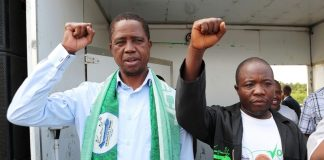 President Edgar Lungu at Chilomo School ground rally in Mangango