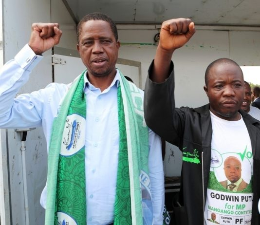President Edgar Lungu at Chilomo School ground rally in Mangango