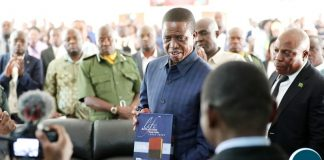 President Lungu receives a bible in Chifubu