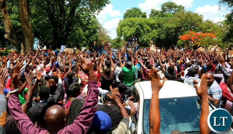 Scores of UPND sympathizers cheering for HH