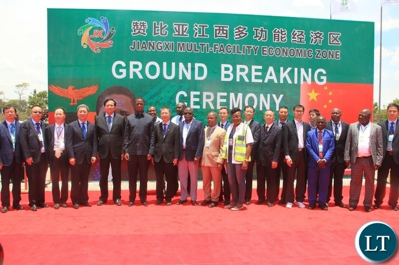 President Edgar Lungu pose for a photo with government and Chinese officials after the ground breaking ceremony of Jiangxi Multi facility Economic Zone in Chibombo