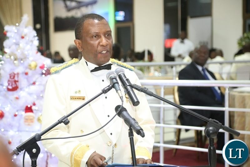 Zambia Air Force Commandant Lt. Gen David Muma delivering his speech during the Zambia Air Force Annual Ball at Chamba Valley Banquet Hall