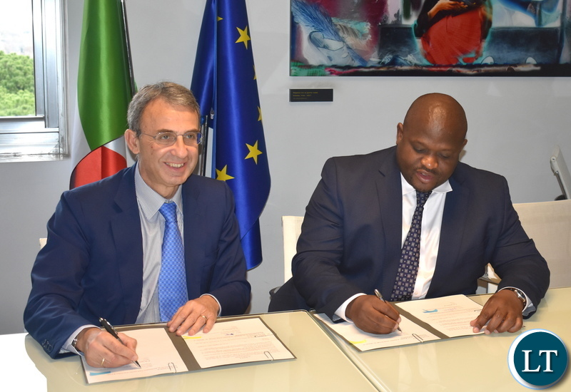 Minister of National Development Planning Alexander Chiteme and Italian Minister of Environment, Land and Sea Sergio Costa signing a Memorandum of Understanding on combating Climate Change on 30 November 2018 in Rome Italy. Photo | Chibaula D. Silwamba | MNDP