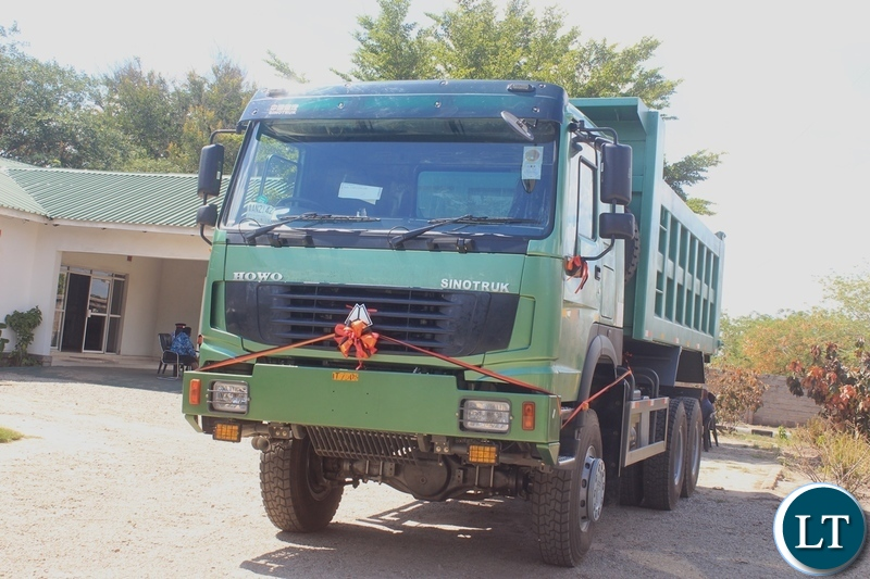 A truck that has been handed over to Mongu Municipal Council for  garbage collection by Western Provincial Administration at a total cost of k784,200.80 in Mongu, Western Province.