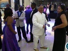 Minister of Justice Given Lubinda and the Wife on the floor during the Zambia Air Force Annual Ball open floor at Chamba Valley Banquet Hall