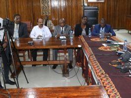 UNZA Vice Chancellor Luke Mumba speaking during media brief at UNZA