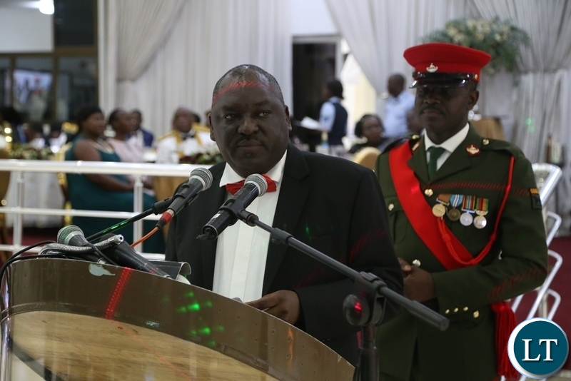 Minister of Defence Davis Chama delivering his speech during the Zambia Air Force Annual Ball at Chamba Valley Banquet Hall