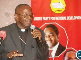 Archbishop Telesphore Mpundu delivers his remarks during the UPND 20th anniversary dinner on Friday night