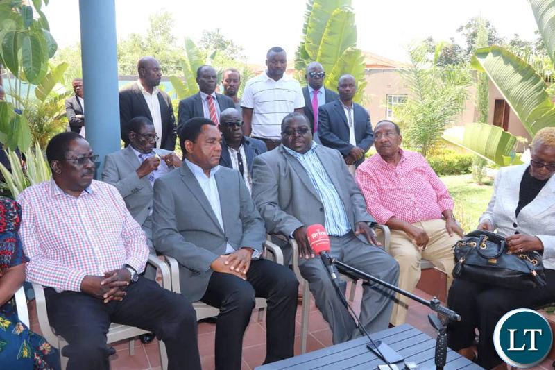 HH and Dr Kambwili addressing the media at Dr Kambwili's residence