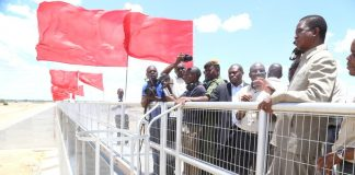President Edgar Lungu inspects the Mwomboshi Dam in Chisamba funded by World Bank $28.3 million shortly after Commissioning the dam