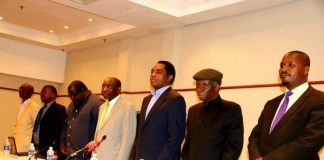 Leaders of opposition party leaders during a news briefing at Pamodzi Hotel on Sunday