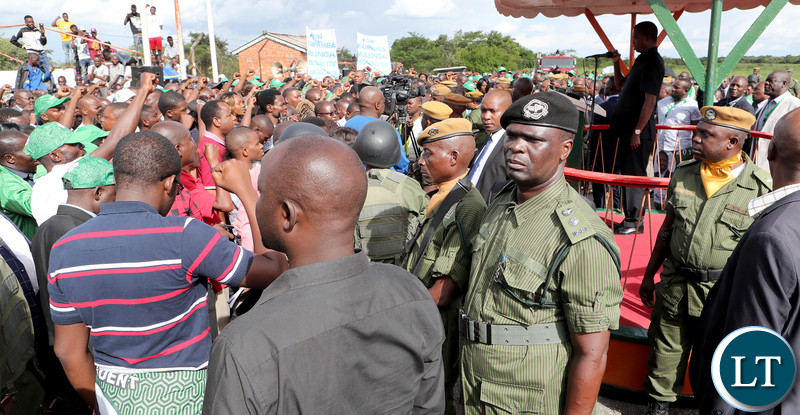 President Edgar Lungu greets Supporters at South down airport in Kalulushi