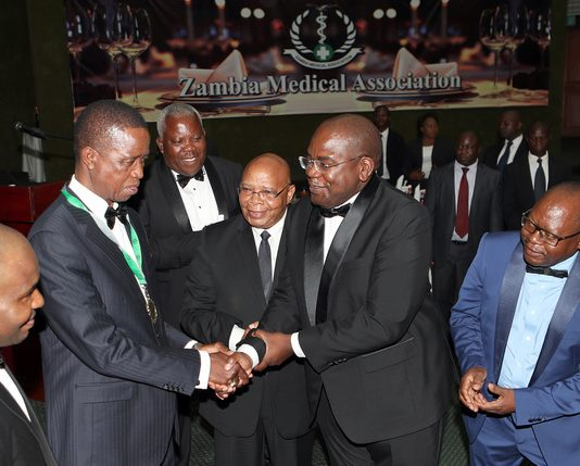 President Edgar Lungu recieves Award at the Zambia Medical Association Annual Ball and Awards Gala at Mulungushi International Conference Centre