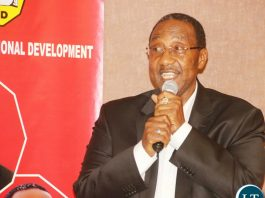 UPND Vice President Geoffrey Bwalya Mwamba delivers his remarks during the UPND 20th anniversary dinner on Friday night