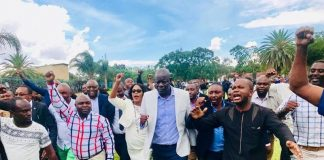 PF Secretary General Davies Mwila leads the celebrations after the ConCourt ruling