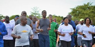 President Edgar Chagwa Lungu leads the fitness way President Edgar Lungu is joined by a team from Barclays Bank Zambia during his routine early morning run and exercises at State Lodge in Lusaka this morning.