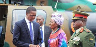 President Edgar Lungu bids farewell to Veep Inonge Wina before departure for Japan at Kenneth Kaunda International Airport