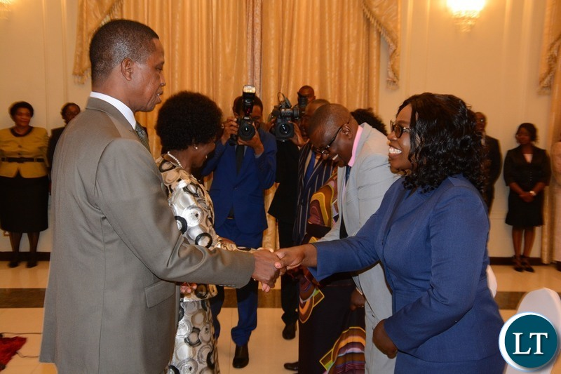 President Edgar Lungu congratulates the Newly Appointed Permanent Secretary Ministry of Health Kakulubelwe Caroline during swearing in ceremony at State House