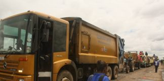 Trucks which were marooned at the Chunga landfill this week following the breaking down of Council equipment which has since been relieved with the help of ZNS and other stakeholders. – Picture by Barnabas Zulu