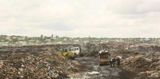 Garbage trucks off-loading solid waste at the Chunga landfill on Thursday, 10th December, 2019 following clearing of the passage within the landfill which is the main dumping site in Lusaka. – Picture by Barnabas Zulu