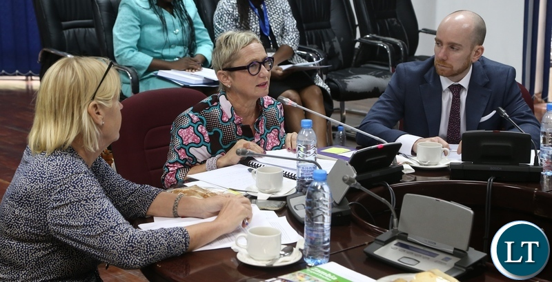 World Bank Country Manager Ina Ruthenberg flanked by World Bank Senior Energy Specialist Christopher Saunders (r) and Swedish Embassy First Secretary Madgdalena Svensson stress a point when World Bank appear before Parliamentary Committee on Energy