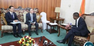 President Edgar Lungu confers with Federal Councillor and head of the department for foreign affairs of Switzerland Mr. Ignazio Cassis at State House shortly before the meeting