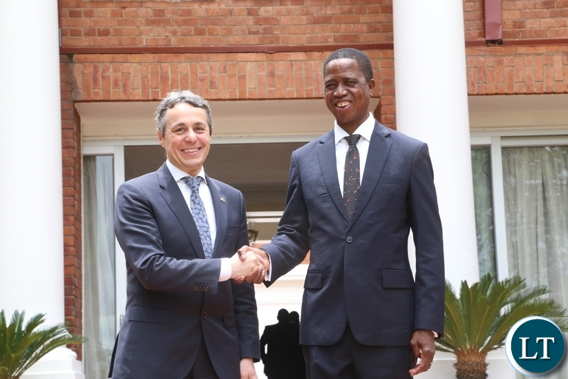 President Edgar Lungu confers with Federal Councillor and head of the department for foreign affairs of Switzerland Mr. Ignazio Cassis at State House shortly after the meeting