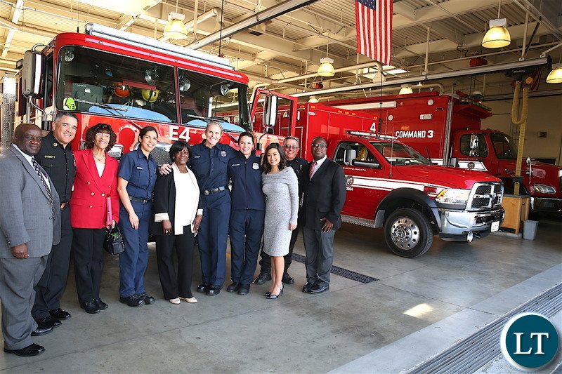 First Lady Esther Lungu with fire fighters  during a tour of Los Angeles Fire Department- Fire Station 4 in California, United States of America on Tuesday, January 22,2019-Pictures by THOMAS NSAMA