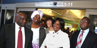 First Lady Esther Lungu with Zambia's deputy Ambassador to Washington DC James Chisenga (L), Los Angeles-Lusaka Sister City Committee Project Director Lidia Brown, Los Angelese -Lusaka Sister CityCommitte Chairman Dr Ernestine Robertson and Dr Mwelwa Mulenga (R) shortly after she arrived at Los Angeles International Airport in California where she is expected to receive Fire trucks donated to the Esther Lungu Foundation Trust by the Los Angeles-Lusaka Sister City Committee and the Mayor of Los Angelese in the United States of America on Saturday, January 19,2019-Pictures by THOMAS NSAMA