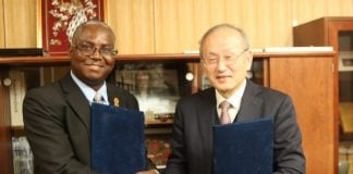 Pictured at Gifu University UNZA Vice Chancellor Professor Luke Mumba exchanging the partnership agreement with the Gifu University Dean of the Faculty of Engineering Prof Toshiaki Murai