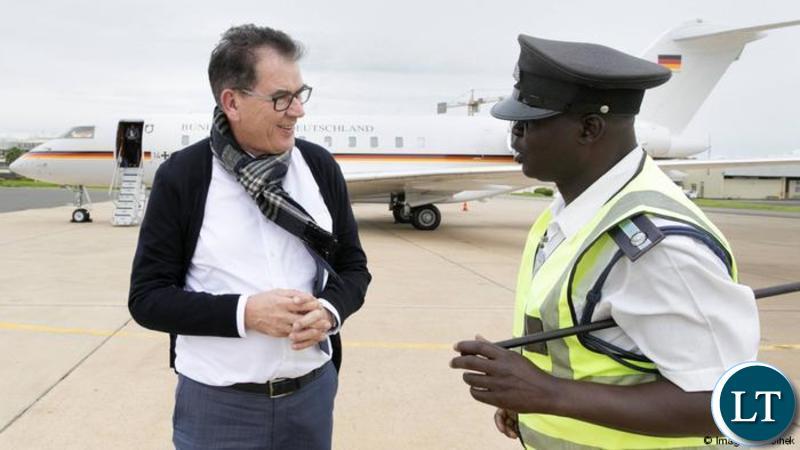 German Development Minister Gerd Müller before flying to Lusaka, Zambia