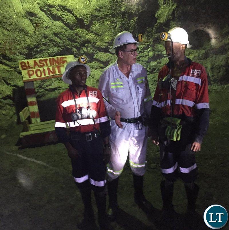 German Development Minister Gerd Müller's visiting a Copper mine in Zambia